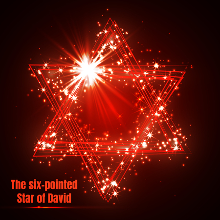 The six-pointed Star of David, shining red magic vector star. Illustration
