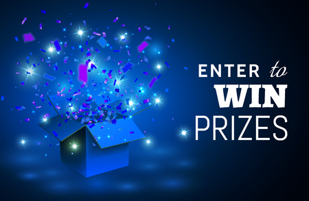 Open blue Gift Box and Confetti on blue background. Enter to Win Prizes. Vector Illustration.