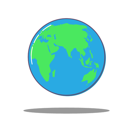 Flat dlobal world icon, vector Earth.