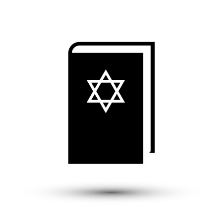 Flat design Jewish torah book icon, vector.
