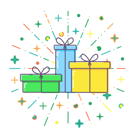 Flat Gift boxes vector.