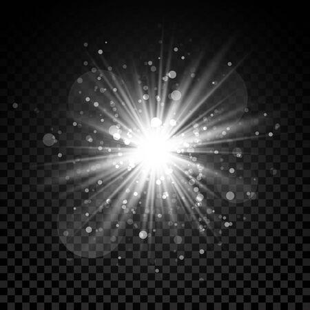 Star burst with sparkles. Light effect. Transparent background.