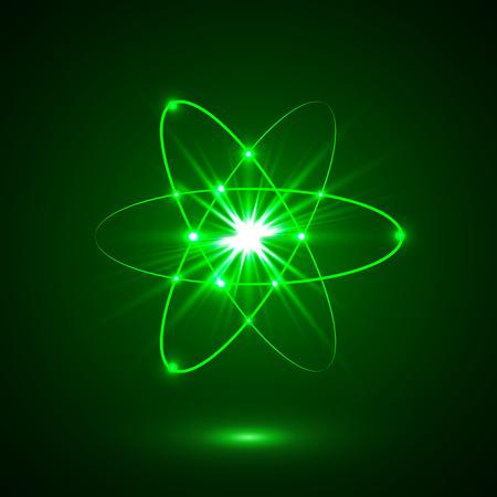 A Vector shining neon lights atom model.