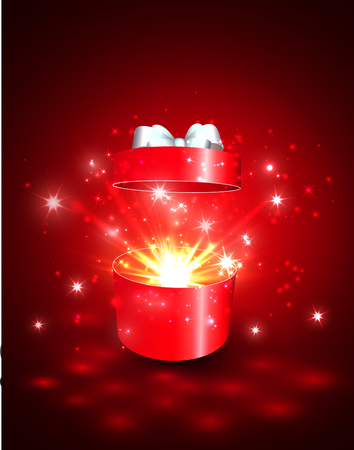 Open gift box with surprise and magic light fireworks.