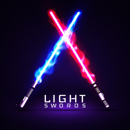 A neon light swords. crossed light, fire, flash and sparkles. Illustration