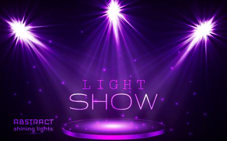 stage spot lighting. magic light. vector background.
