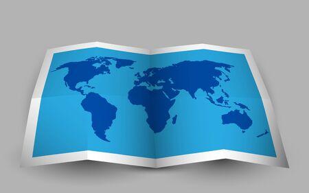 Blue folded world map. Vector illustration.