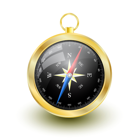 Golden Glossy Compass with windrose. Vector Illustration.