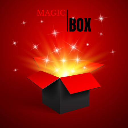 Magic Open box, black and red, vector. Stock Illustratie
