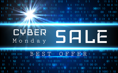 Cyber Monday Sale vector banner template. Blue shining binary code background with arrows and sample text. Stock Illustratie