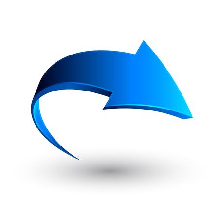 Blue 3d arrow, vector.