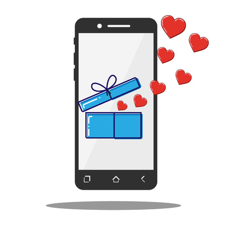 Flat line icon phone with Open box and hearts, Valentine gift. Vector. Illustration
