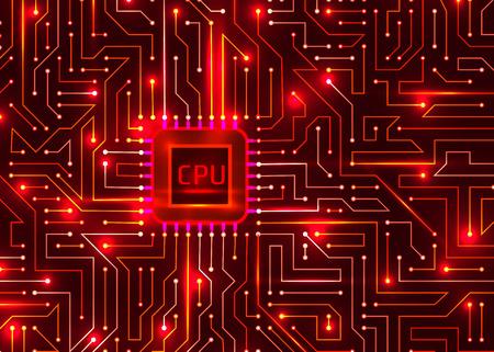 hi tech digital redbackground, cpu, vector.