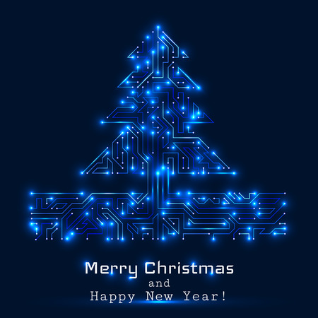 Vector christmas tree from digital electronic circuit - blue version with white lights. Иллюстрация