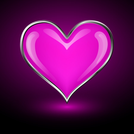 Pink Valentine's Heart. Greeting Card. Vector illustration.
