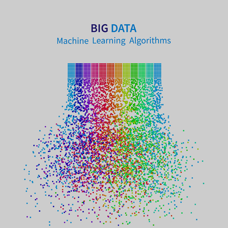 BIG DATA Machine Learning Algorithms. Analysis of Information Minimalistic Infographics Design. Science/Technology Background. Vector Illustration. Vectores