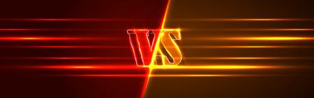 Neon Versus  . VS Vector Letters Illustration. Competition Icon. Fight Symbol.