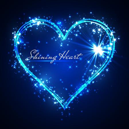 shining glitter vector blue heart.