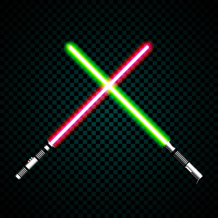 realistic light swords. crossed light sabers, flash and sparkles. Vector illustration isolated on transparent background.