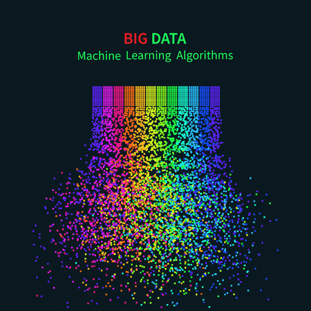 BIG DATA Machine Learning Algorithms. Analysis of Information Minimalistic Infographics Design. ScienceTechnology Background. Vector Illustration. Illusztráció