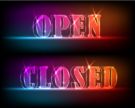 Open, close signborads. Neon effect in blue and red colors on dark background. Vector