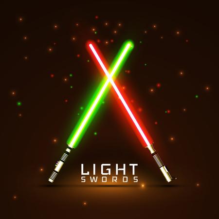neon light swords. crossed light sabers.