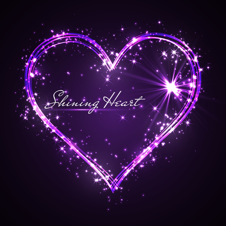 shining glitter vector purple heart.