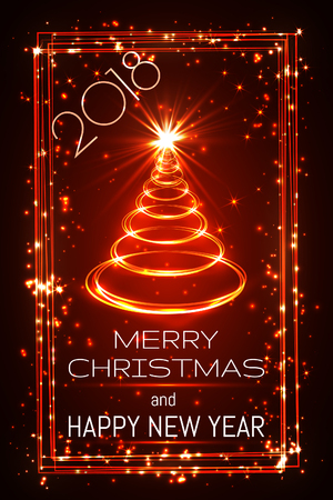 merry christmas and happy new year greeting card, vector.
