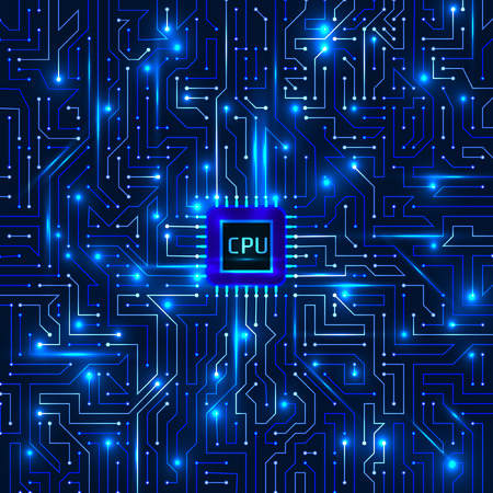 Computer processor and motherboard system chip. CPU chip electronic circuit board with processor vector illustration.