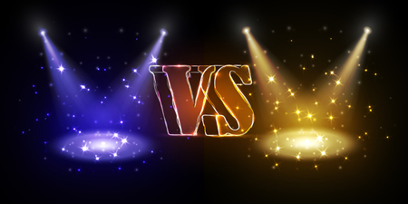 Versus round blue and yellow glow rays night scene with sparks on dark background. Light effect podium. Disco club dance floor. Beam stage. Magic fantasy portal. Futuristic hot and cold teleport. Illustration