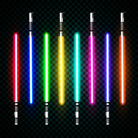 neon light swords. crossed light sabers, flash and sparkles. Vector illustration isolated on transparent background. Çizim