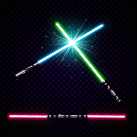 neon light swords. crossed light sabers, flash and sparkles. Vector illustration isolated on transparent background. Illustration