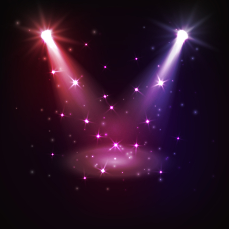 Abstract disco background with spot lights and bright rays.