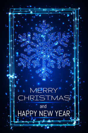 Blue shining snoweflaces with frame, marry christmas and happy new year greeting card. Illustration