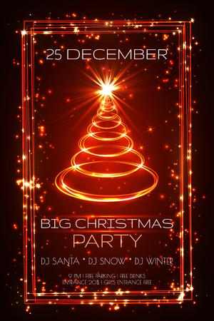 big christmas party greeting card, vector.