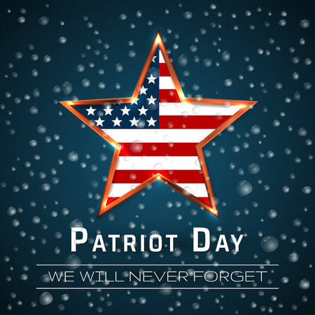 Patriot Day 9.11 digital sign with star onthe raindrop background, vector illustration.