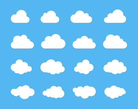 Clouds silhouettes. Vector set of clouds shapes. Collection of various forms and contours.