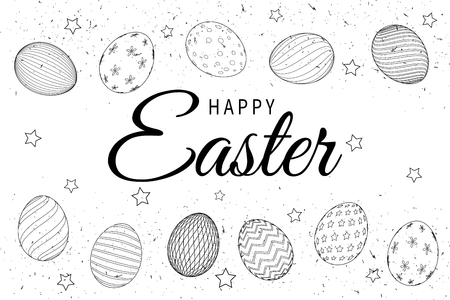 Easter eggs composition hand drawn black on white background. Illustration