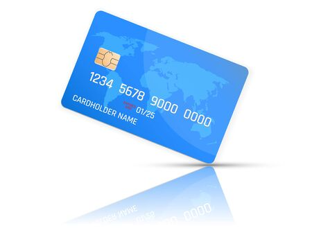 Realistic detailed credit card with the world map on blue background. Vector illustration design.