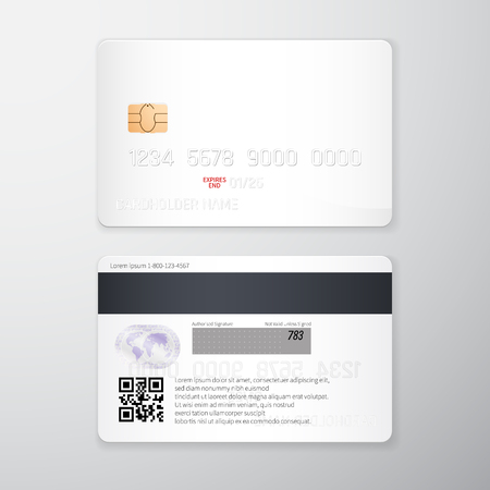 Credit card mockup. Realistic detailed credit cards set abstract design background. Front and back side template. Money, payment symbol. Vector illustration EPS10. 向量圖像