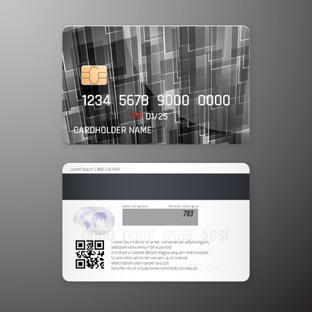 Vector detailed credit cards set with black poligonal abstract background. Front and back side template. Money, payment symbol. Vector illustration EPS10.