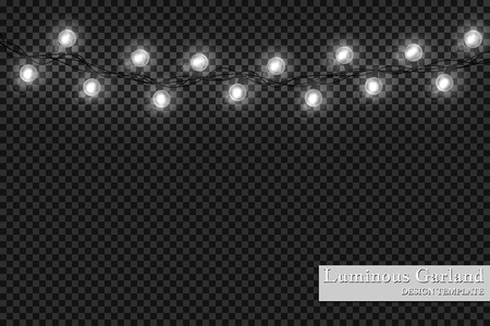 Garlands, realistic glowing garland Christmas decoration lights effects. Christmas decoration. Isolated vector design elements on a transparent background. Glowing lights on Christmas. Illustration