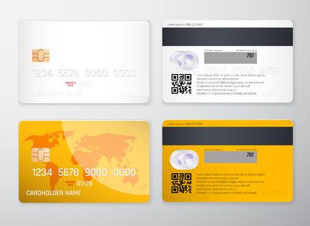 Credit card mockup. Realistic detailed credit cards set abstract design background. Front and back side template. Money, payment symbol. Vector illustration EPS10. Illustration