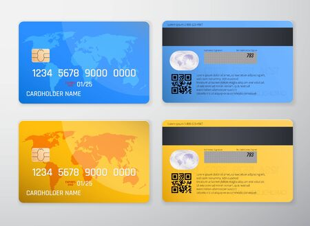 Realistic detailed credit card with the world map on yellow and blue background. Vector illustration design.