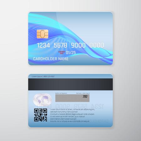 Realistic detailed credit card with blue background. Vector illustration design. Illustration