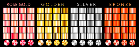 Rose gold, golden, silver, bronze gradient,pattern,template.Set of colors for design,collection of high quality gradients.Metallic texture,shiny background.Pure metal.Suitable for text,mockup,banner,ribbon,ornament. Stockfoto - 99500210