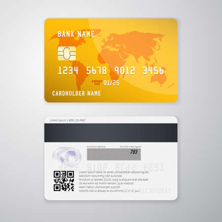 Realistic detailed credit card with the world map on yellow background. Vector illustration design. Illustration