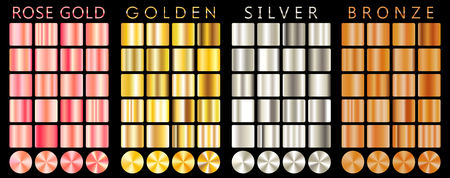 Rose gold, golden, silver, bronze gradient,pattern,template.Set of colors for design,collection of high quality gradients.Metallic texture,shiny background.Pure metal.Suitable for text,mockup,banner,ribbon,ornament.