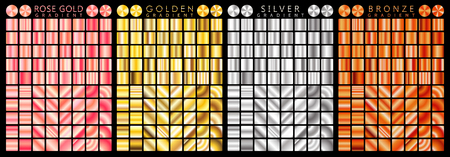 Rose gold, golden, silver, bronze gradient,pattern,template.Set of colors for design,collection of high quality gradients.Metallic texture,shiny background.Pure metal.Suitable for text,mockup,banner,ribbon,ornament. Stockfoto - 99502231