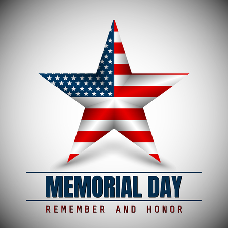 Memorial Day with star in national flag colors. Illustration